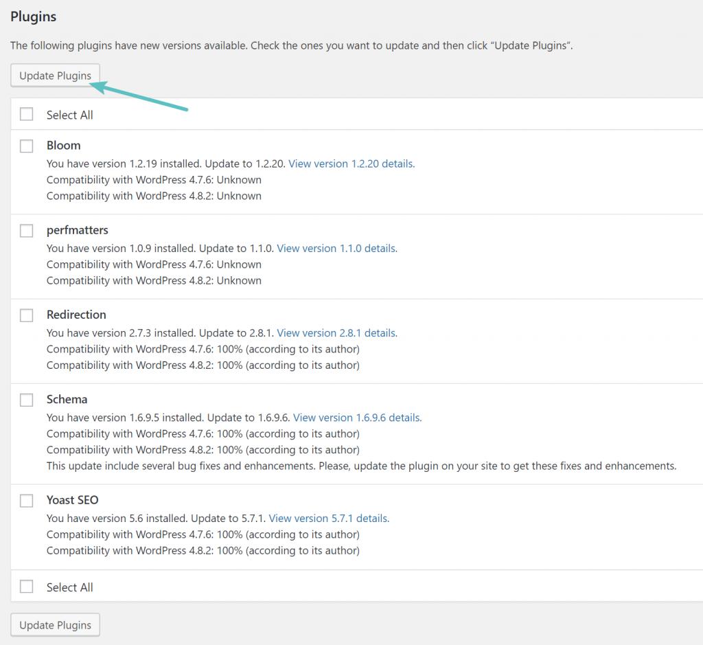 WordPress eklentilerini güncelle