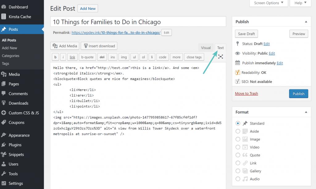 WordPress HTML metin görünümü