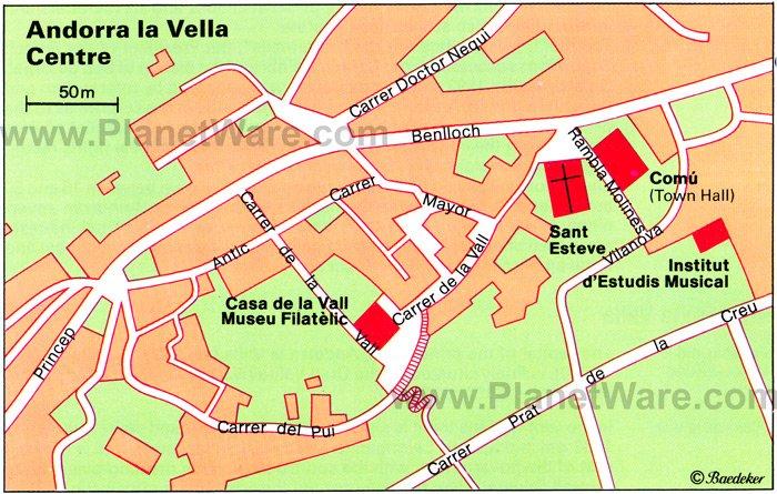 Andorra la Vella Haritası - Gezilecek Yerler