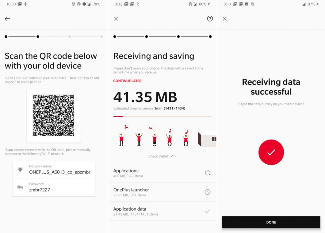OnePlus Switch uygulaması, yeni 6T'nizi kurmanızı çok kolaylaştırır.